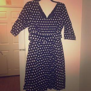 Belted Polka Dot Swing Dress
